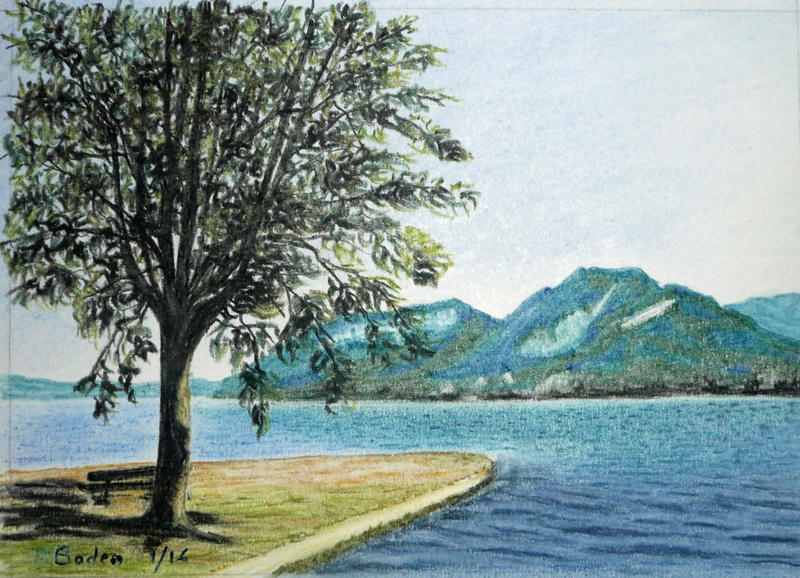 paysage du lac d 39 annecy crayon pastel 21x15 richard debernardi peintures et pastels. Black Bedroom Furniture Sets. Home Design Ideas